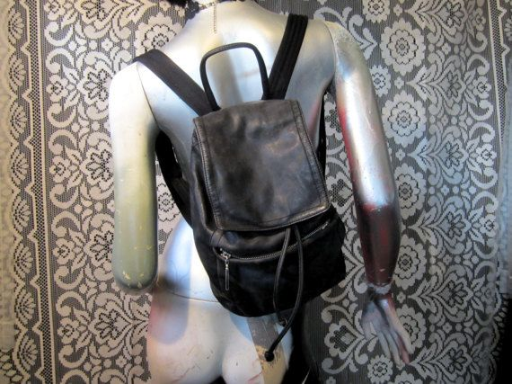 90's Mini Black Leather Backpack with Silver Zippers Goth Punk Grunge Distressed Festival Club Kid Witch Worn Minimalist Small Backpack