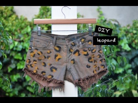 DIY Leopard Shorts Need: •pair of denim shorts •fabric dye •salt •plastic tub or bucket that you don't mind staining •tan & black fabric paint •paint brush Mix your dye. Stir in a cup of salt to the dye mixture. Wet your shorts then submerge them in the dye mixture. Rinse your shorts. Pop them in the dryer to set the color and dry your shorts with your paintbrush, paint your spots using the tan color try varying the size and spacing of the spots to get a very organic look. let dry. Do the…