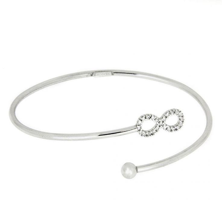 Zilveren verstelbare Bangle Armband Infinity met Zirkonia