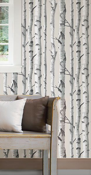 This Birch Tree peel & stick wallpaper makes an enchanted entryway or living room feature wall