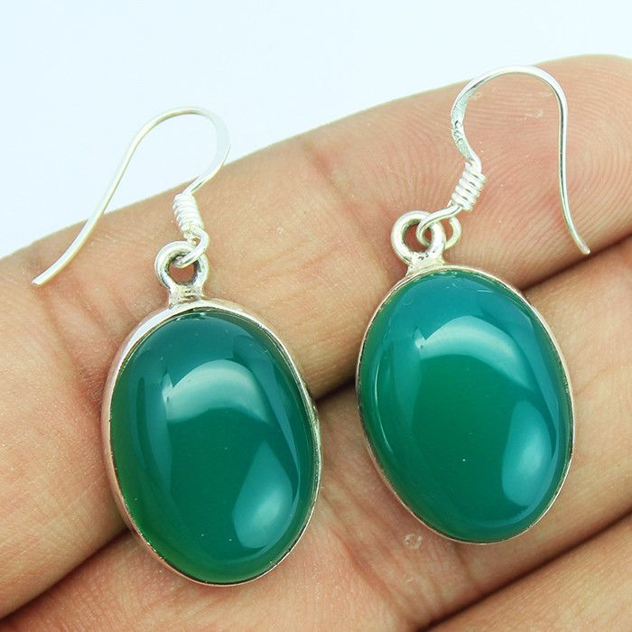 Green Onyx Sterling Silver Earrings – Jewels Exports