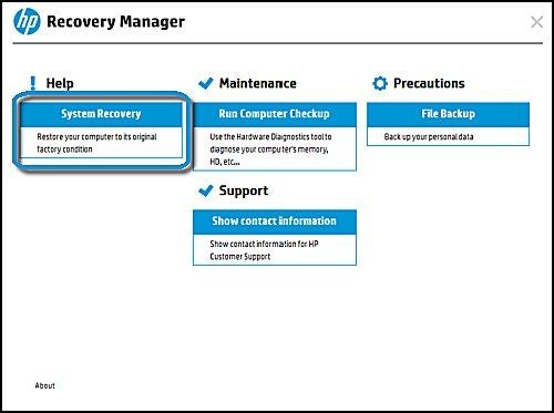 Recovery Manager Main screen with System recovery selected
