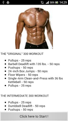 "THE ""ORIGINAL"" 300 WORKOUT<br>•Pullups - 25 reps<br>•Barbell Deadlift with 135 lbs. - 50 reps<br>•Pushups - 50 reps<br>•24-inch Box Jumps - 50 reps<br>•Floor Wipers - 50 reps<br>•Single-Arm Clean-and-Press with 36 lbs Kettlebell - 50 reps<br>•Pullups - 25"