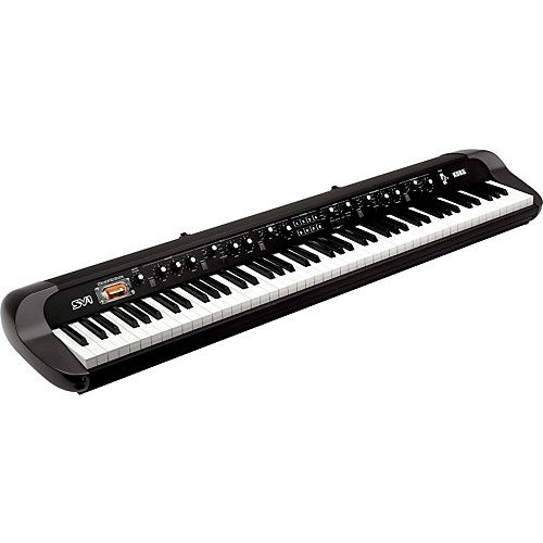 Designed with performance in mind, the SV-1 is a pleasure to play. The RH3 Real Weighted Hammer Action is the finest keybed Korg offers, with a solid, responsive feel that inspires confidence. http://www.guitarcenter.com/Korg/SV188BK-88-key-Stage-Vintage-Piano-Black-1329756294343.gc