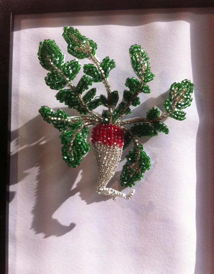 Radish - by French bead embroidery maker Marianne Batlle