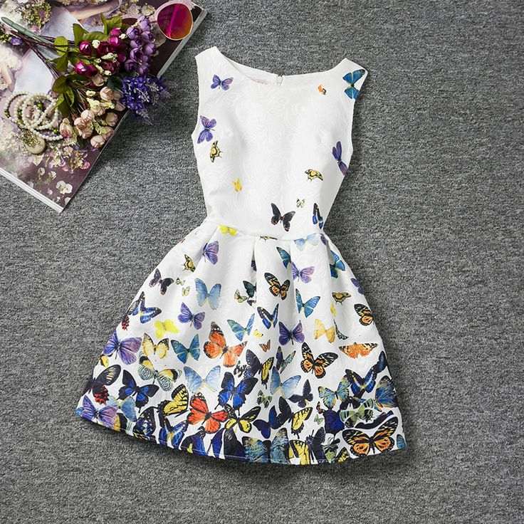 Girl Dress Summer Style Sleeveless Printed Kid Dresses Girls Clothes Party Princess Vestidos Nina 6 7 8 year birthday Dress $12.82 => Save up to 60% and Free Shipping => Order Now! #fashion #woman #shop #diy www.uniquebaby.ne...