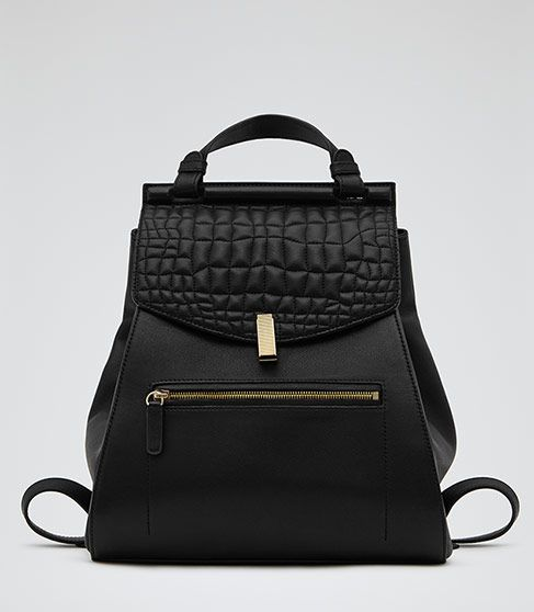 I need this in my life !!  Reminds me of  The Row !!! Women's Black Quilted Leather Rucksack - Reiss Alto
