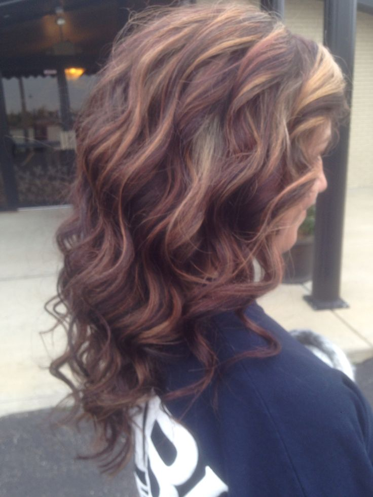 Highlight and low light! Red and 4 mocha low light and blonde highlight!
