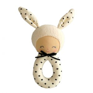Alimrose – Charlie Grab Rattle Black 18cm Cute Charlie grab rattle in sweet modern print