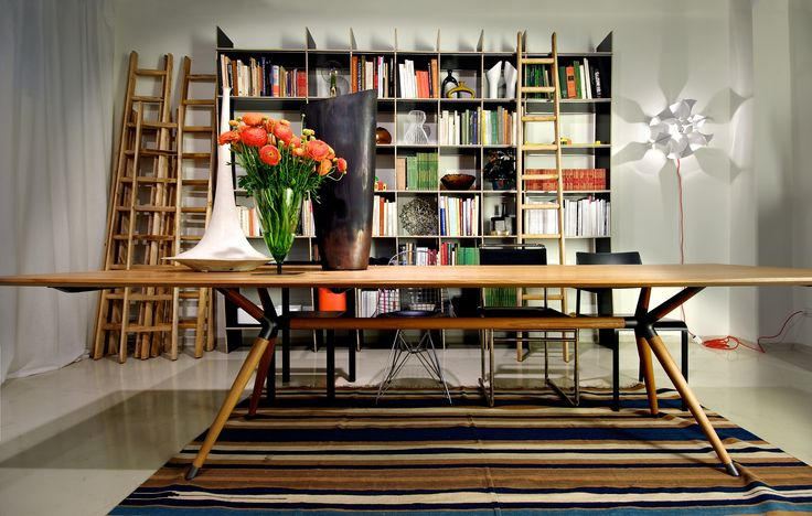 Living Space #cool composition #wood #table #library #wood #stairs #flowers