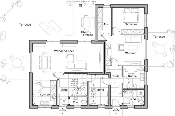 Erdgeschoss, Wohnung 1 und 2 (Einliegerwohnung) Häuser Pinterest - grundriss küche mit kochinsel