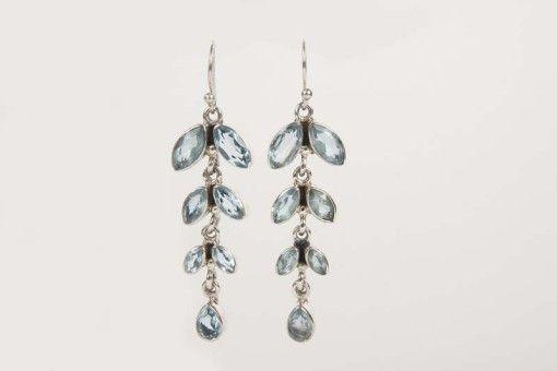Earrings E00028 Silver 925° stone Blue Topaz