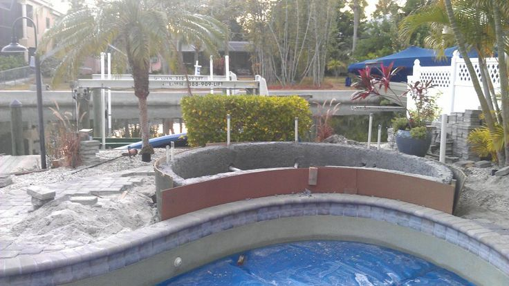 Adding A Spa On Existing Pool In 2019 Pool Builders Hot Tub Backyard Pool Designs