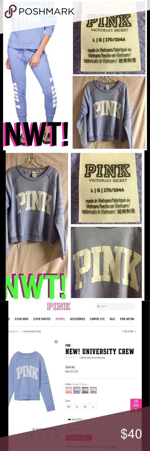 NWT! NEW PINK UNIVERSITY CREW NWT & NEW @ PINK! PINK UNIVERSITY CREW IN PURPLE PIZAZZ. Made of lightweight terry w/added stretch for a little bounce. Has a very relaxed fit & dropped shoulders. The bottom hem also sits at your hips. ⭐️MATCHING LACE-UP SKINNY COLLEGIATE PANTS ALSO AVAILABLE!⭐️THIS IS VERY OVERSIZED!⭐️❌🚫I AM SORRY I DO NOT TRADE OR APPRECIATE LOWBALL OFFERS-THANKS!❌🚫🚭 &🚫🐾🐈🐩🦑🐟ENVIRONMENT-LOL! PINK Victoria's Secret Tops Sweatshirts & Hoodies