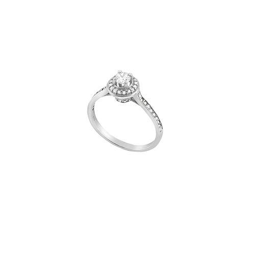 Μονόπετρο ροζέτα δαχτυλίδι Al'oro  Κ18 λευκόχρυσο διαμάντι ZL1187