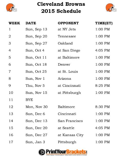 Printable Cleveland Browns Schedule - 2015 Football Season