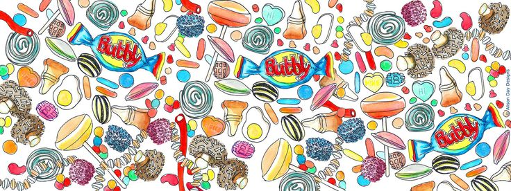 Retro Candy Delight by Alison Day:  #food #drink #cookery #cookerybooks #retrocandy #illustration  Newsletter - for more info and creativity: http://alisonday.us8.list-manage.com/subscribe?u=f0ee923eb109c974f6e7d72c2&id=d783011ad5