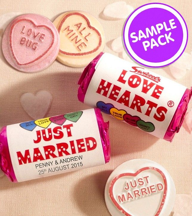 Personalised Mini Love Hearts Wedding Favours (Sample pack)