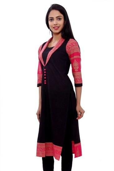 LadyIndia.com # Cotton Kurti, Attractive Stylish Cotton Pink Kurti For Women, Kurtis, Kurtas, Cotton Kurti, https://ladyindia.com/collections/ethnic-wear/products/attractive-stylish-cotton-pink-kurti-for-women