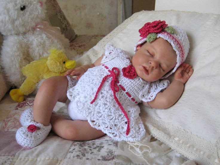 Newborn Baby Lacy Crochet Dress, Hat, and Mary Jane Shoes in White ...