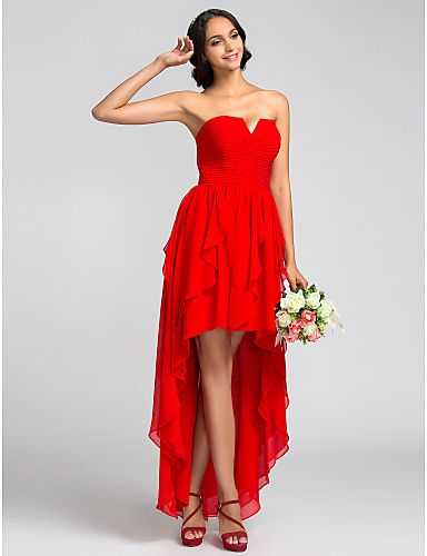 A-line Strapless Asymmetrical Chiffon Bridesmaid Dress - Super Sale Offer Upto 50% Off from Light in the box UK.