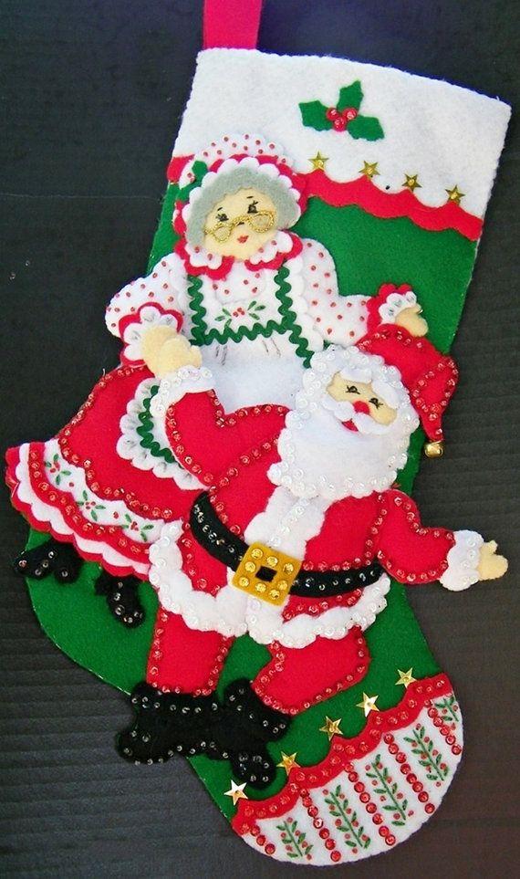 Mr & Mrs Santa Claus Finished Christmas Stocking by NanasStitchery