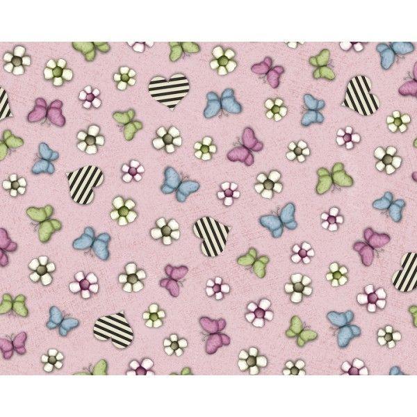 Tela de la colección Gorjuss con estampado de corazones, flores y mariposas y fondo rosa. #Gorjuss #Manualidades #Telas