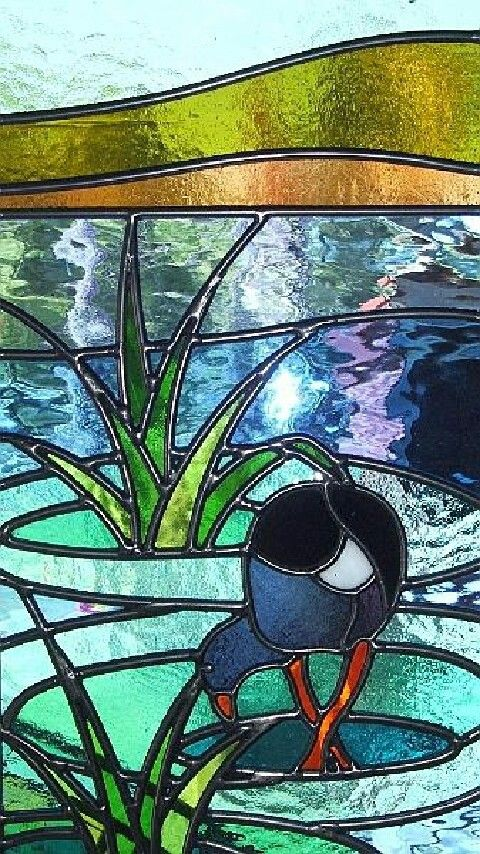 Pukeko in a swamp - stained glass.