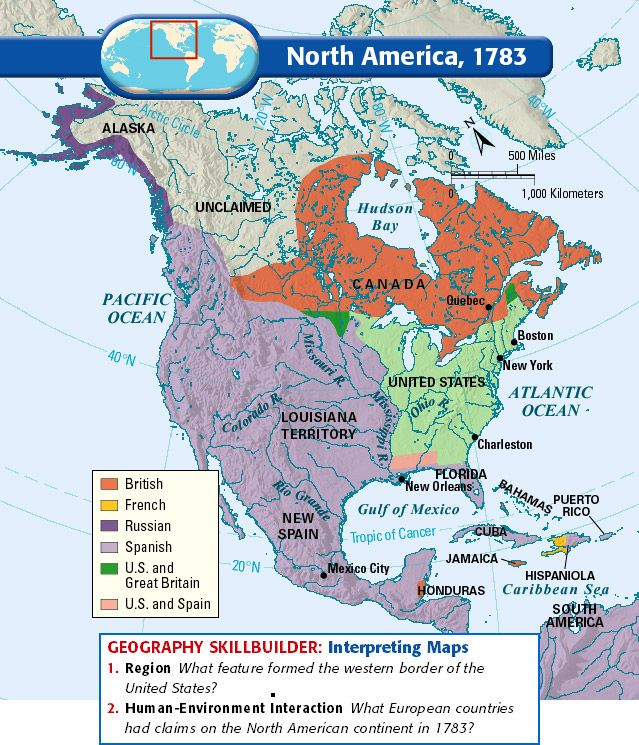 North America 1783 Usa Mapsamerican