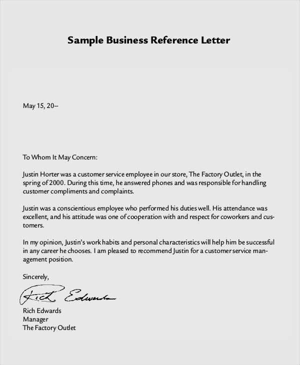 40 Professional Reference Letter Template Word In 2020