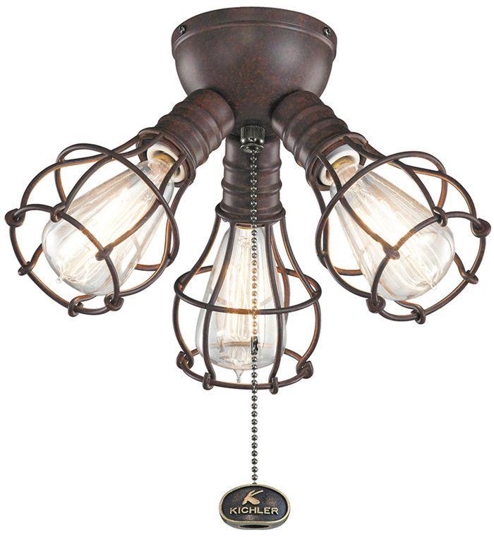 3 light industrial fan light kit by kichler lighting
