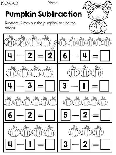 Pumpkin Subtraction >> Part of the Autumn Kindergarten Maths Worksheets Packet