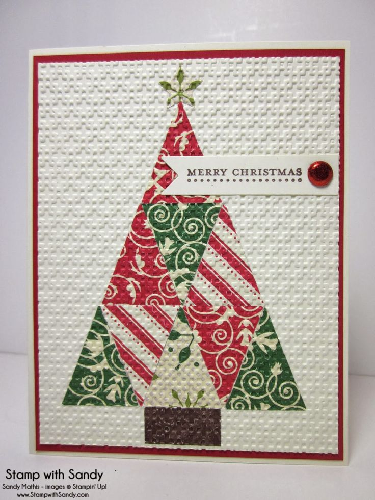 handmade Chritsmas card from Stamp With Sandy: Quilted Christmas Tree ... triangles of Christmas print papers form a triangle tree ... whole front panel embossed with square lattice embossing folder for the embedded embossing look ... like this look! ... Stampin' Up!