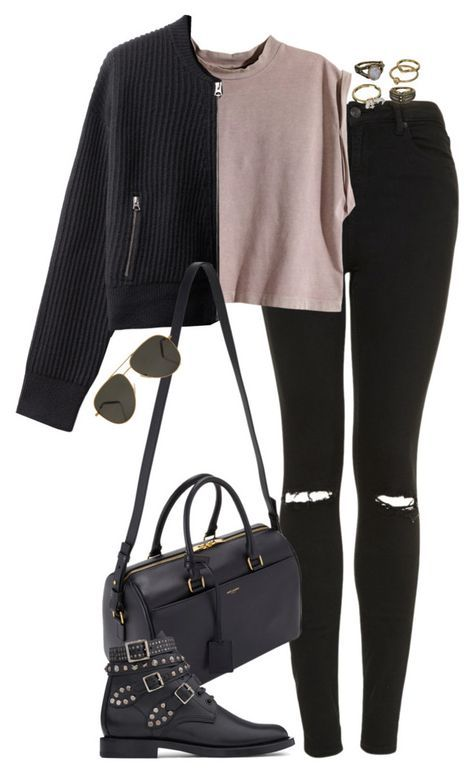 """""""Untitled #4914"""" by eleanorsclosettt ❤ liked on Polyvore featuring Topshop, H&M, Yves Saint Laurent and Mudd"""