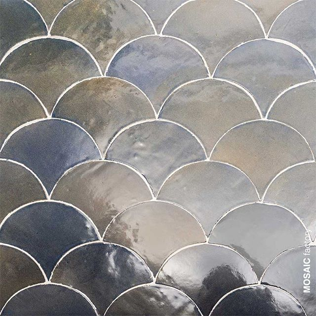 Decorative Fish Scale Shaped Tiles In Shifting Shades Of Transparent Smokey Blue From Mosaic Factory Zellige Tile Collectio Scallop Tiles Mosaic Handmade Tiles