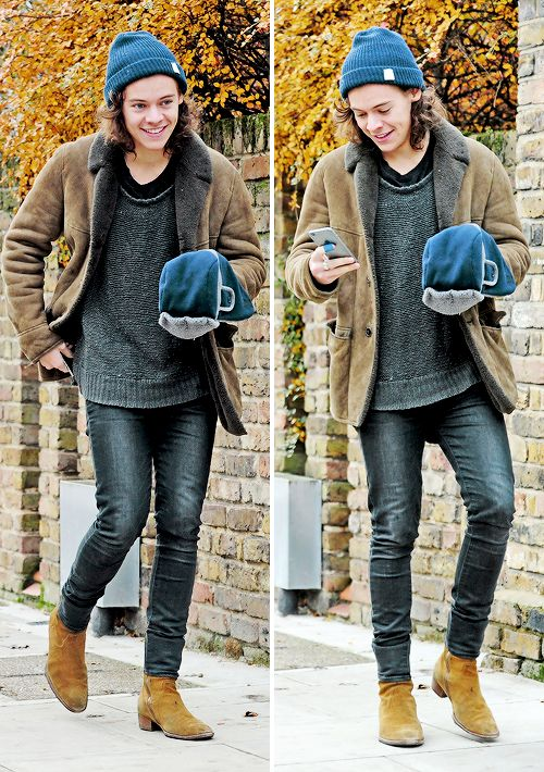 """On a brisk Autumn day, Harry decides to go for a walk.  """"Ah, the leaves are even changing color!"""" he shouts to no one.  The perfect shade of leaves to complement his perfect little boots."""