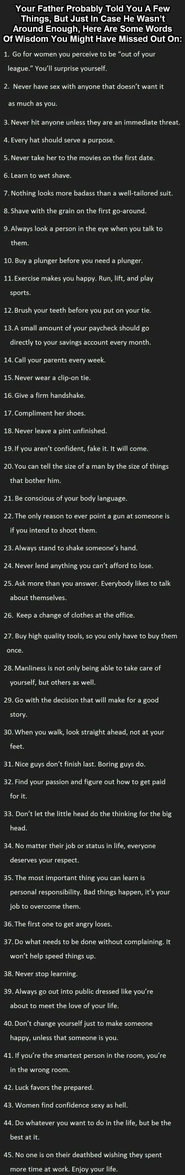 "'45' | Ultimate 'Wisdom' for Men [..Teach Your Sons.] || Pinning Here -- . 'Cause ""It Will Be SEEN Most LIKELY"" !!! . ty"