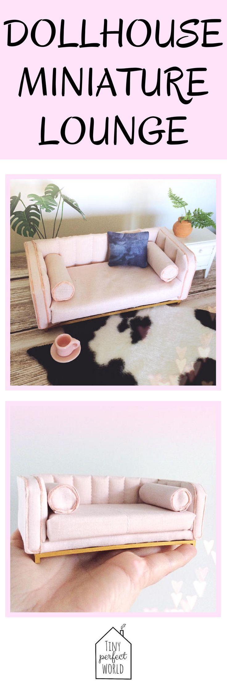 Miniature sofa, modern miniature couch, miniature lounge, designer sofa,  pink sofa, modern dollhouse furniture, blush pink dollhouse