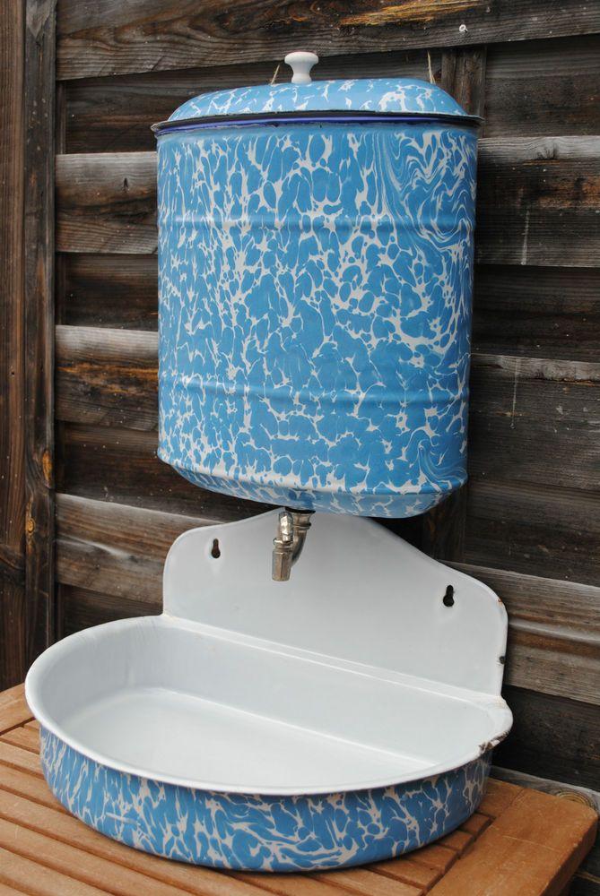 VINTAGE FRENCH ENAMELWARE GRANITEWARE ENAMEL WALL FOUNTAIN LAVABO BLUE AND WHITE