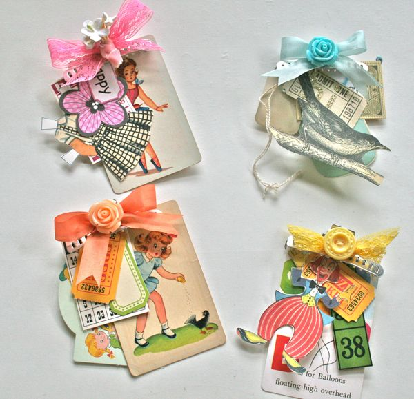 vintage embellishment bundles from Vintage Street Market - could make something similar with PML cards and stamped and fussy cut items...