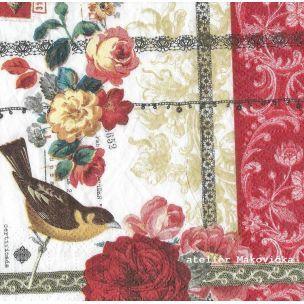 ateliér MaKovička - Servítky - Kusovky - Rose Lace, ruže, vtáčik
