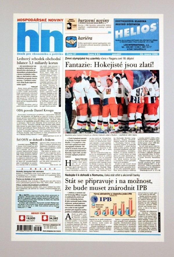 23.2.1998 - Čeští hokejisté vyhráli zlato na olympiádě v Naganu