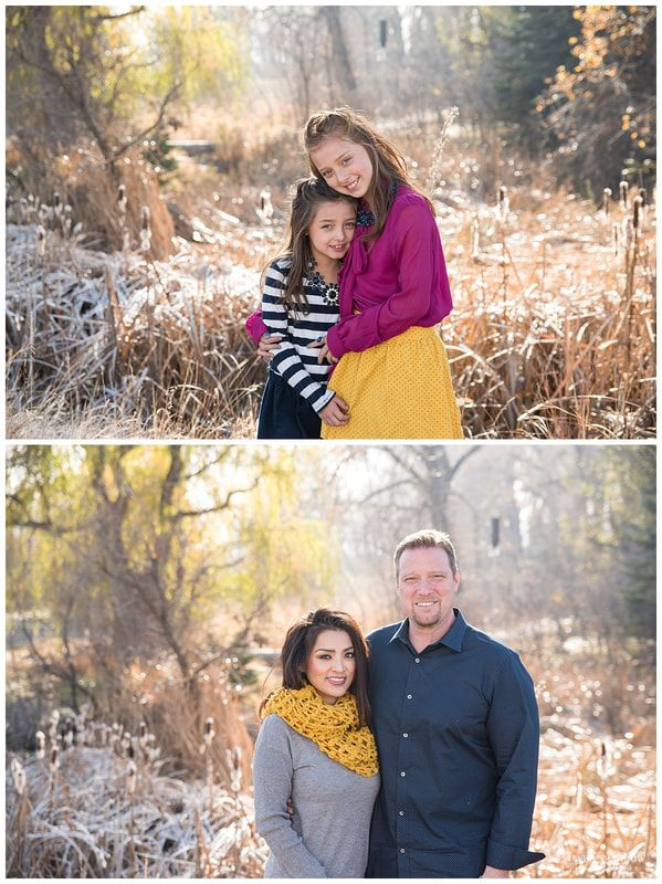 Fall family photo - What to wear!  Stripes, Pink blouse, yellow skirt....perfect pops of color for fall family portraits!