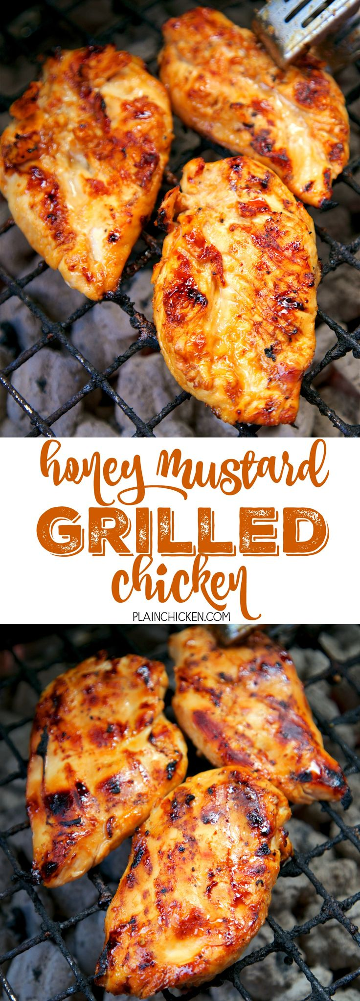 Honey Mustard Grilled Chicken - only 5 ingredients in the marinade! Honey, dijon mustard, lemon juice, soy sauce and garlic. SO simple and delicious! Everyone cleaned their plate! Can also use the marinade on pork.