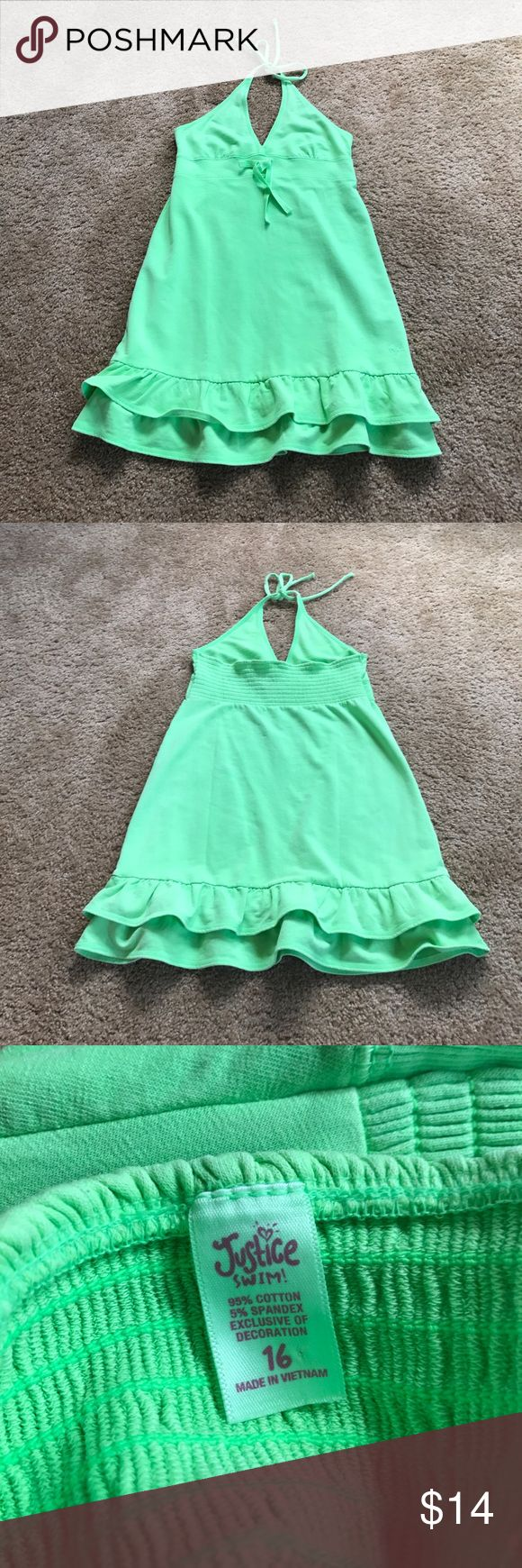 Neon Green Justice Swimsuit Cover Up Bright and colorful neon green justice swim coverup. Never worn but but with out tags ❤️                                • Feel free to ask questions • Make an offer! Justice Swim Coverups