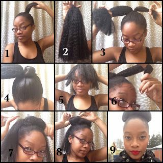 Little Things I Love: Tales From the Roots: Protective Styling (part one). High Bun creative with Kanekalon Hair. Cute, inexpensive protective styling for transitioning / Natural African American Hair.