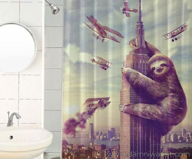 The Slothzilla Funny Waterproof Shower Curtain is a very nice choice for your bathroom remodeling and decor. This isn't only a piece of decor for the bathroom, but it is a piece of art as well, and your guests and friends will have a smile on their face when encountering this in your bathroom.