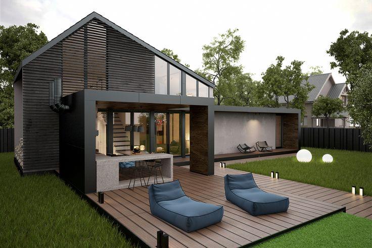 Экстерьер дома для отдыха в стиле минимализм. Панель, оформленная под террасную доску, находится бассейн. Также, вместо покрытия из панели можно использовать передвижную систему с живым газоном.