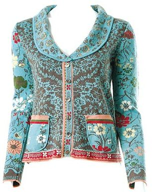 Ivko-Elaborately woven cotton clothing with retro/folk patterns, feminine cuts & beautiful colour schemes. I actually own this cardigan and it still looks like new after being worn so much. The back pattern looks like the sleeves.