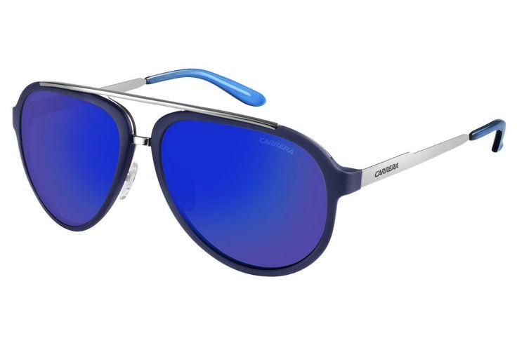 Carrera - 96/S Blue Ruthenium Sunglasses, Blue Sky Mirror Lenses